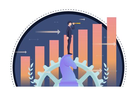 Businessman using telescope on horse chess with growth graph in background. Business vision and leadership concept. Stock Illustratie
