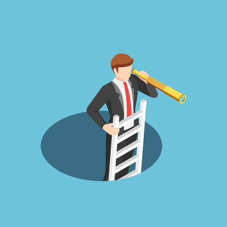 Flat 3d isometric businessman climbs out of the hole by ladder and using telescope. business vision and solution concept.