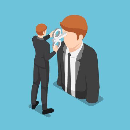 Flat 3d isometric businessman turning a windup key on businessman head. Business motivation concept.