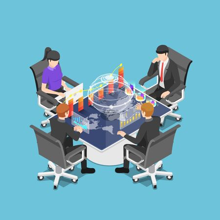 Flat 3d isometric group of businesspeople meeting and analyzing chart and graph around futuristic interactive table. Business conference and technology concept. Stock Illustratie