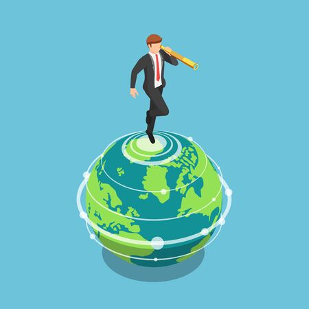Flat 3d isometric businessman standing on the world and looking through a telescope. Buisness vision and opportunity concept.