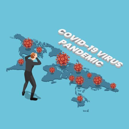 Flat 3d isometric businessman with COVID-19 virus on world map. COVID-19 virus pandemic concept. Stock Illustratie