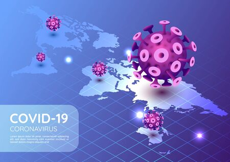 3d isometric web banner covid-19 virus or coronavirus outbreak in 2020 with world map. COVID-19 virus pandemic concept.