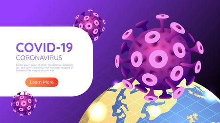 3d isometric web banner covid-19 virus or coronavirus outbreak in 2020 with world globe. COVID-19 virus pandemic concept. Stock Illustratie