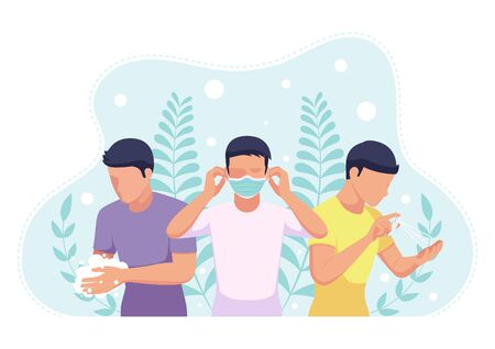 People wearing a face mask - wash hands and sanitizing with alcohol spray to COVID-19 virus or coronavirus preventions. COVID-19 virus or coronavirus preventions concept. Stock Illustratie