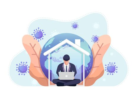 Businessman working on laptop  and quarantine at home. Work from home and social distance during corona virus quarantine concept. Stock Illustratie