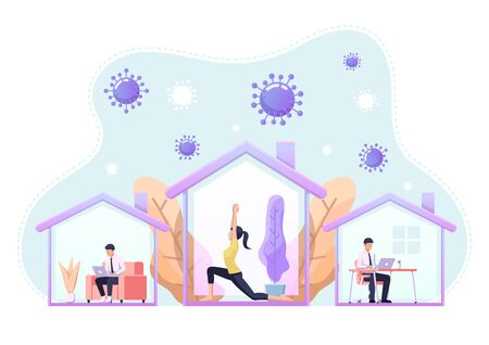 People doing activity or working at home to prevent COVID-19 coronavirus infection. Work from home and social distance during corona virus quarantine concept.