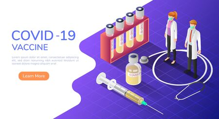 3d isometric web banner doctors wearing medical mask with COVID-19 or coronavirus vaccine and syringe. COVID-19 or coronavirus  treatment and prevention concept.