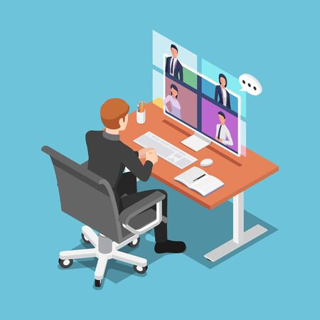 Flat 3d isometric businessman talking to his colleagues in video conference. work from home during COVID-19 or coronavirus pandemic and video conference concept. Stock Illustratie