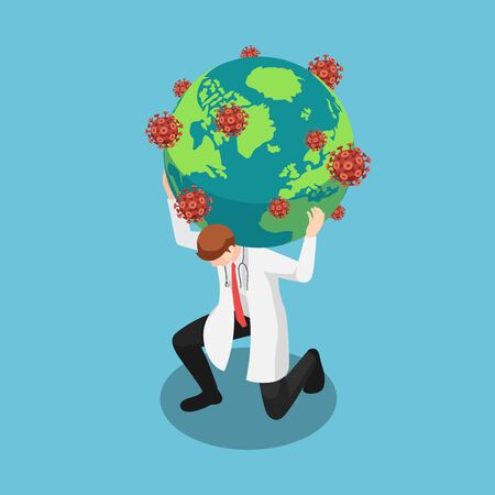 Flat 3d isometric doctor carrying the world with COVID-19 virus or Coronavirus. Fighting with COVID-19 virus or coronavirus outbreak concept.