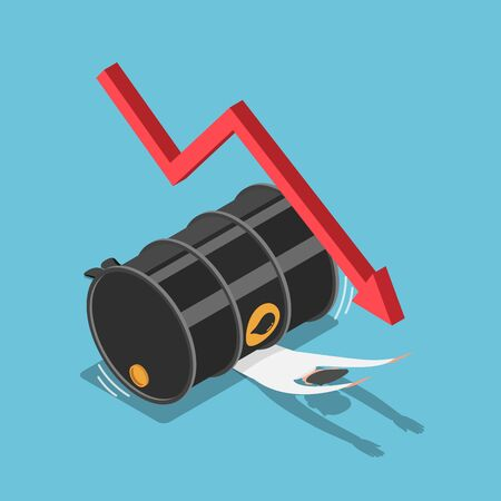 Flat 3d isometric businessman has been crushed by oil barrel with falling graph. Financial and oil price crisis concept.