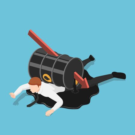Flat 3d isometric falling red arrow piercing through oil barrel over businessman. Oil price crisis concept.  イラスト・ベクター素材