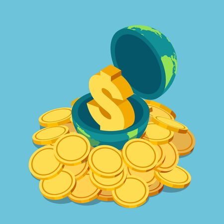 Flat 3d isometric golden dollar sign inside the world on pile of coin. World economy and financial concept.