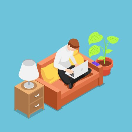 Flat 3d isometric man with laptop working on sofa at his house. Work at home and freelance concept