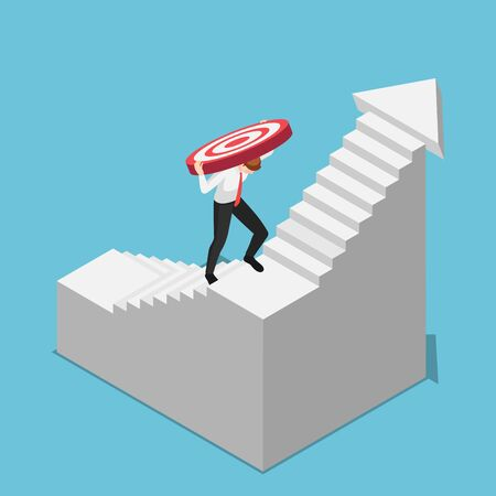 Flat 3d isometric businessman carrying target while climbing upward on the stairs. Business target and challenge concept.