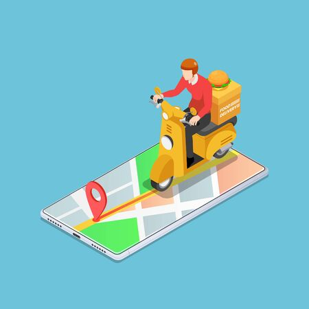 Flat 3d isometric delivery man ride motorcycle on the smartphone with gps navigation. Food delivery service concept.