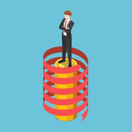 Flat 3d isometric businessman standing on coin stack with spiral growth arrow. Business success and leadership concept. Stock Illustratie
