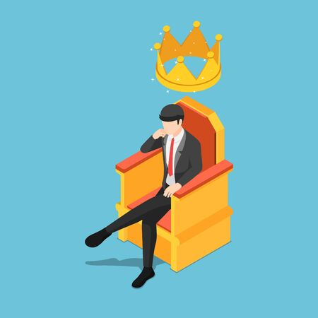 Flat 3d isometric businessman sitting on throne with crown over his head.