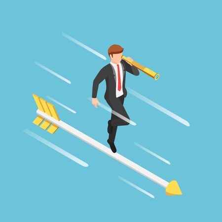 Flat 3d isometric businessman with telescope standing on arrow. Business vision concept.