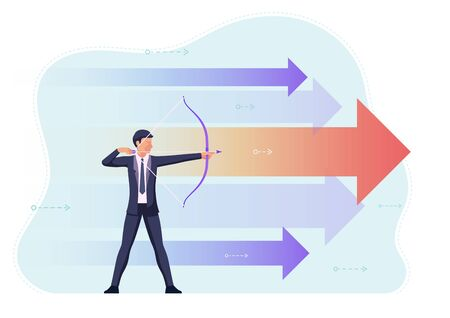 Businessman aiming the target with bow and arrow. Business vision and ambition concept.