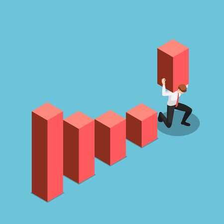 Flat 3d isometric businessman carry and raises bar chart up above the highest point.