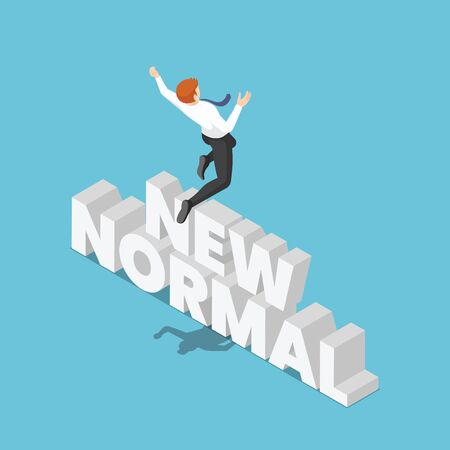 Flat 3d Isometric Businessman Jumping Over The New Normal Text.
