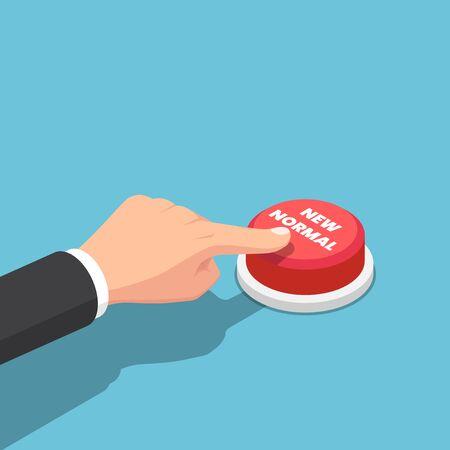 Flat 3d Isometric businessman hand push new normal button. Stock Illustratie