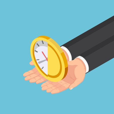 Flat 3d isometric businessman hands holding half of clock and money coin. Time is money concept.