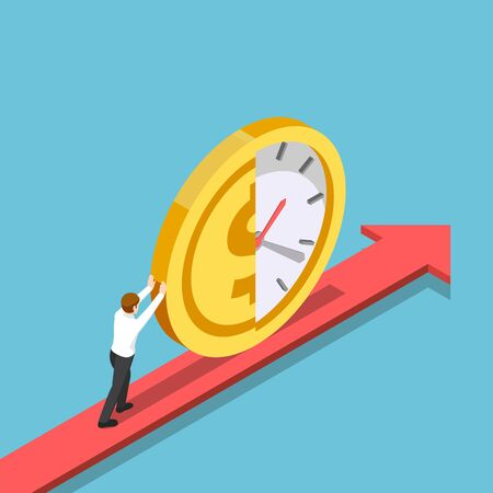 Flat 3d isometric businessman push half of clock and money coin forward. Time is money and financial concept.