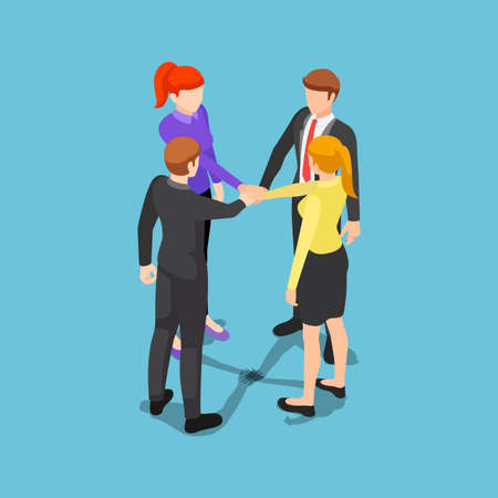 Flat 3d isometric business people putting their hands together. Unity and teamwork concept. Stock Illustratie