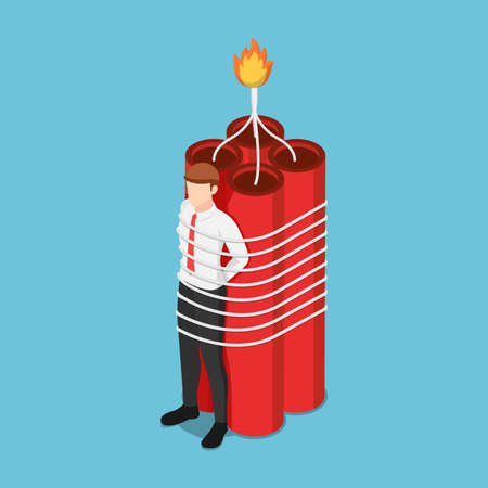 Flat 3d isometric businessman tied with dynamite. Business crisis and deadline concept.
