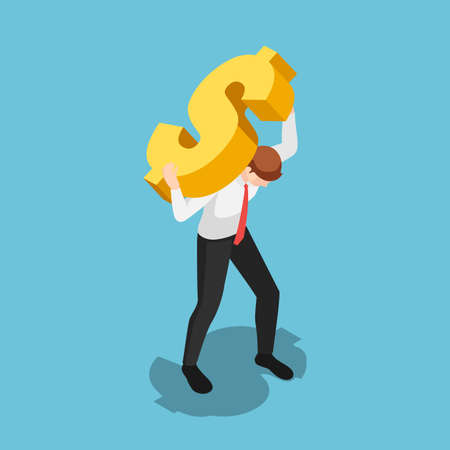 Flat 3d isometric businessman carrying golden dollar sign. Financial crisis and leadership concept. Stock Illustratie