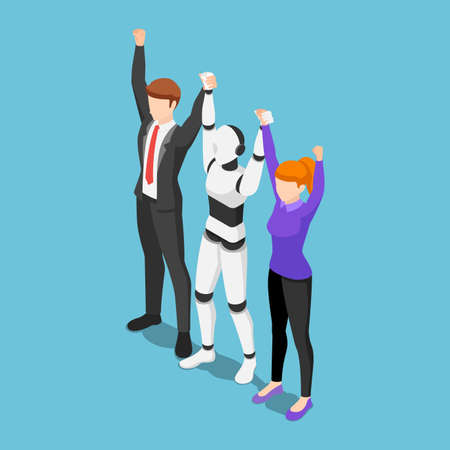 Flat 3d isometric business people and ai robot show teamwork by raising hand together.  Innovation in business and artificial intelligence technology concept.