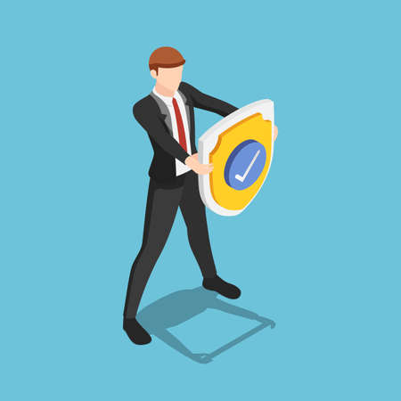 Flat 3d isometric businessman is holding a shield with check mark. Business protection security and insurance concept.