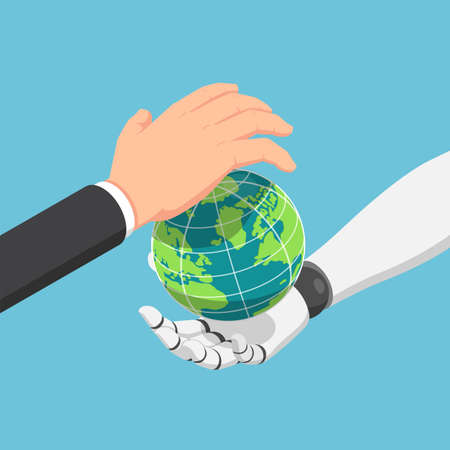 Flat 3d isometric businessman and ai robot hand protecting the world together. Ai Artificial intelligence and futuristic concept. Stock Illustratie