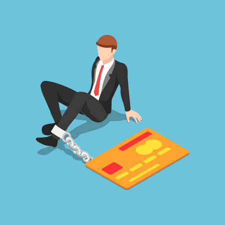 Flat 3d isometric businessman chained with credit card. Credit card debt and financial crisis concept.