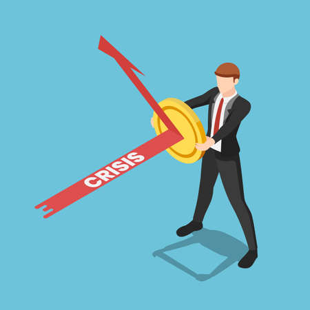 Flat 3d isometric businessman use golden coin as a shield to reflex crisis arrow. Financial stability concept. Stock Illustratie