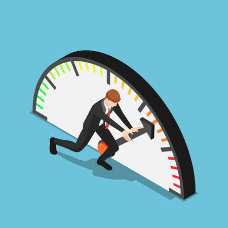 Flat 3d isometric businessman trying to push meter to the maximum position. Aspiration and business success concept. Stock Illustratie