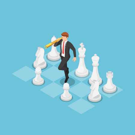 Flat 3d isometric businessman using telescope and standing on chess board. Business strategy and vision concept.