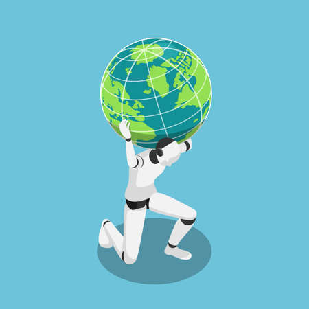Flat 3d isometric Ai robot carrying the world on shoulder. Artificial intelligence and ai rule the world concept.