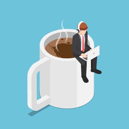 Flat 3d isometric business sitting on coffee cup and working on laptop. Coffee break and relax concept.