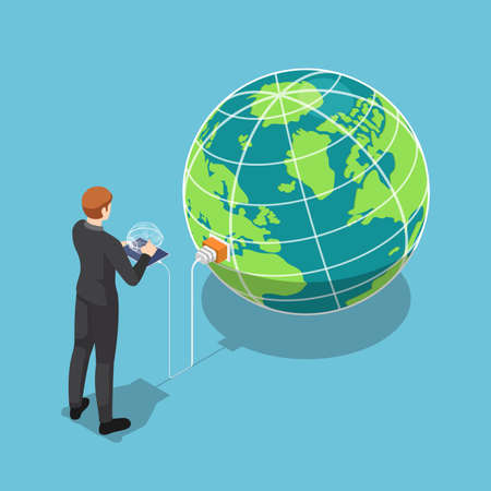 Flat 3d isometric business with tablet that connecting to the world. Global network connection technology concept.