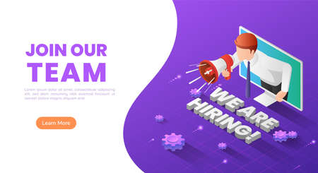 3d isometric web banner businessman holding megaphone come out from monitor with we are hiring text. Job hiring and  business recruiting landing page concept.