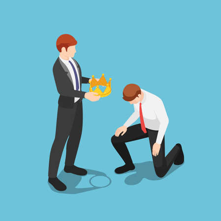 Flat 3d isometric boss giving  golden crown to kneeling businessman. Business success concept.