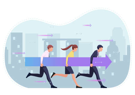 Business people holding arrow and moving forward together. Business success and teamwork concept. Stock Illustratie