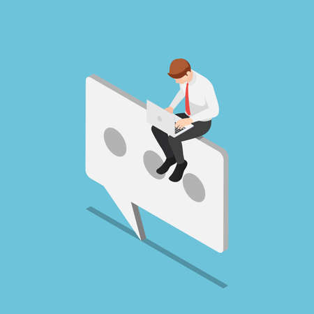 Flat 3d isometric businessman sitting on chat or text icon. Customer support concept.