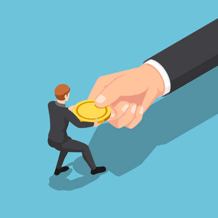 Flat 3d isometric businessman fight over and pull golden coin from big business hand. Fights against strong opponent and competition concept.