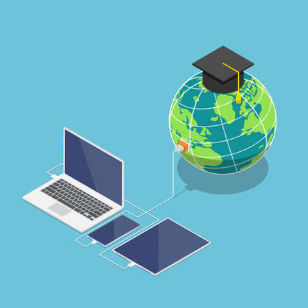 Flat 3d isometric world with graduation cap connected to laptop smartphone and tablet. Global online education and e-learning concept. Vektoros illusztráció
