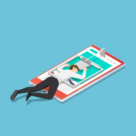Flat 3d isometric businessman trapped in a mousetrap on smartphone. Smartphone addiction concept.  イラスト・ベクター素材
