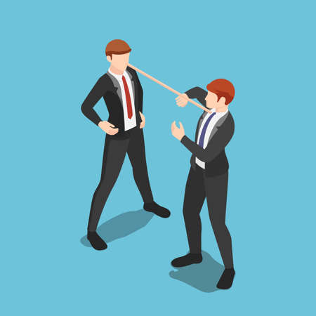 Flat 3d isometric liar businessman with long nose speaking lies to partner. Dishonest behavior and business liar concept.